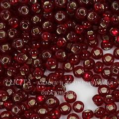 97120 Бисер 8/0 Preciosa прозрачный темный красный с квадр. серебряным центром