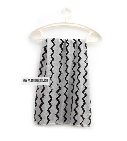 Трикотажная пеленка-зигзаг на сером (90х94)