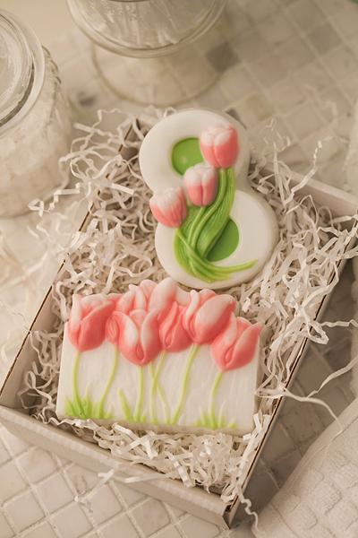 Мыло прямоугольное с тюльпанами. Форма пластиковая