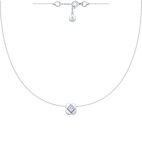 94070153- Подвеска-колье на леске-невидимке с серебряными замочками