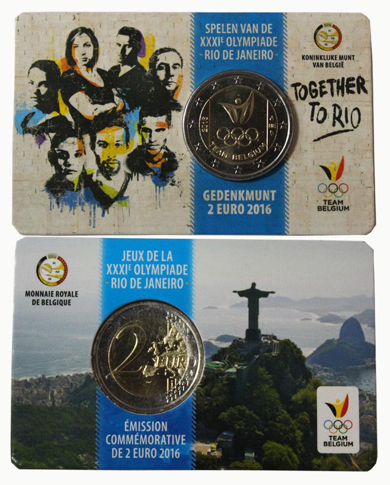 2 евро 2016 Бельгия - Олимпиада в Рио (в буклете)