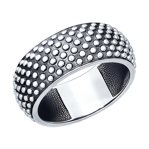 95010071- Широкое кольцо из чернёного серебра