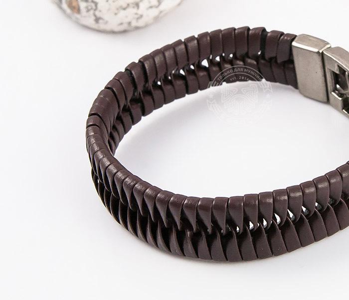 SL0039-BRN Оригинальный широкий мужской браслет из коричневой кожи, «Spikes»  (21 см) фото 05