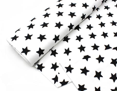 Трикотаж(махровая изнанка),звезды черные