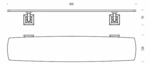 Полка стеклянная Colombo Portofino хром B3216 60см. схема