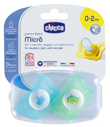 Chicco. Пустышка Physio Micro для принца силиконовая, 1уп/2 шт, 0-2 мес., корона/динозавр