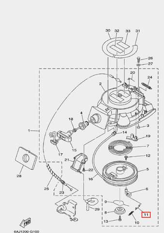 Пружина стартера возвратная для лодочного мотора F20 Sea-PRO (10-11)
