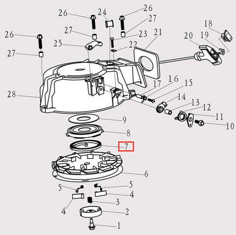 Пружина стартера для лодочного мотора F9.8 Sea-PRO (8-7)