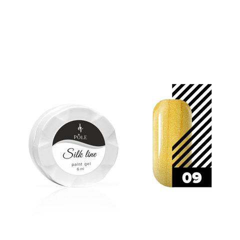 Гель-краска для тонких линий POLE Silk line №09 золотая (6 мл.)