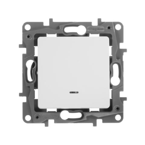 Выключатель одноклавишный с подсветкой 10 AX - 250 В~. Цвет Белый. Legrand Etika (Легранд Этика). 672203