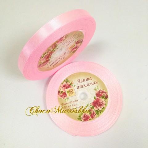 Атласная лента 1 см - Бледно-розовая