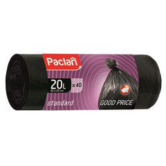 Мешки для мусора на 20 л Paclan Standart черные (ПНД, 7.3 мкм, в рулоне 40 шт, 45х55 см)