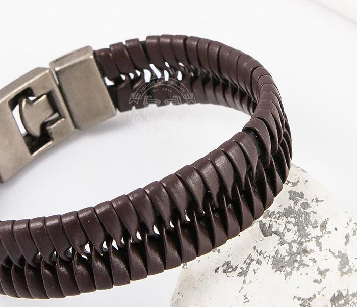 SL0039-BRN Оригинальный широкий мужской браслет из коричневой кожи, «Spikes»  (21 см) фото 07