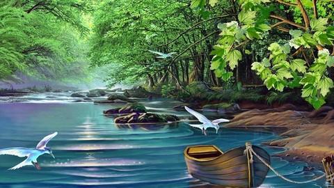 Картина раскраска по номерам 50x65 Птицы над водой
