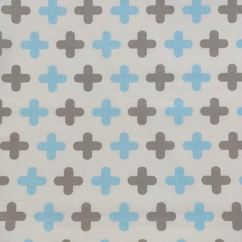 Ткань хлопковая крестики на белом