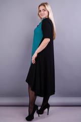 Лазурь. Элегантное женское платье больших размеров. Бирюза.