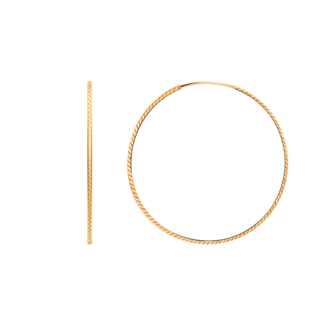 20772-55а-1- Серьги-конго из золота диаметр  Ø55 мм с алмазными насечками