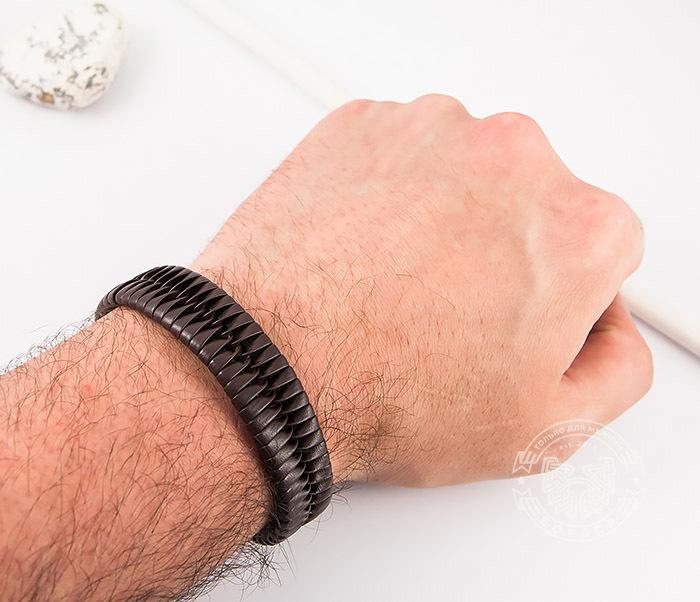 SL0039-BRN Оригинальный широкий мужской браслет из коричневой кожи, «Spikes»  (21 см) фото 08
