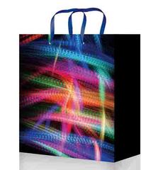Пакет подарочный с матовой ламинацией 18x23x8 см (М) Неоновый свет.