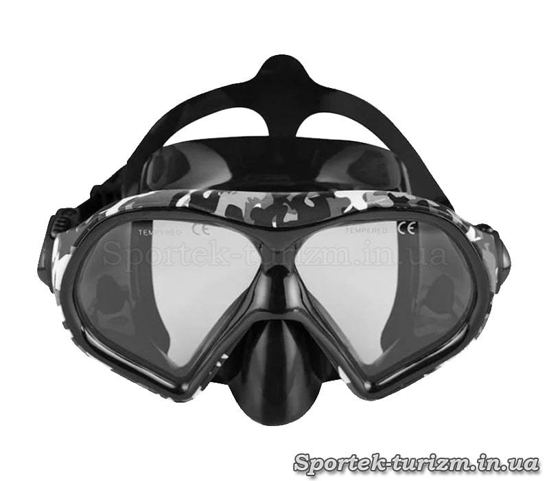 Вид спереду на маску для плавання Dolvor M9510S Camouflage (камуфляж)