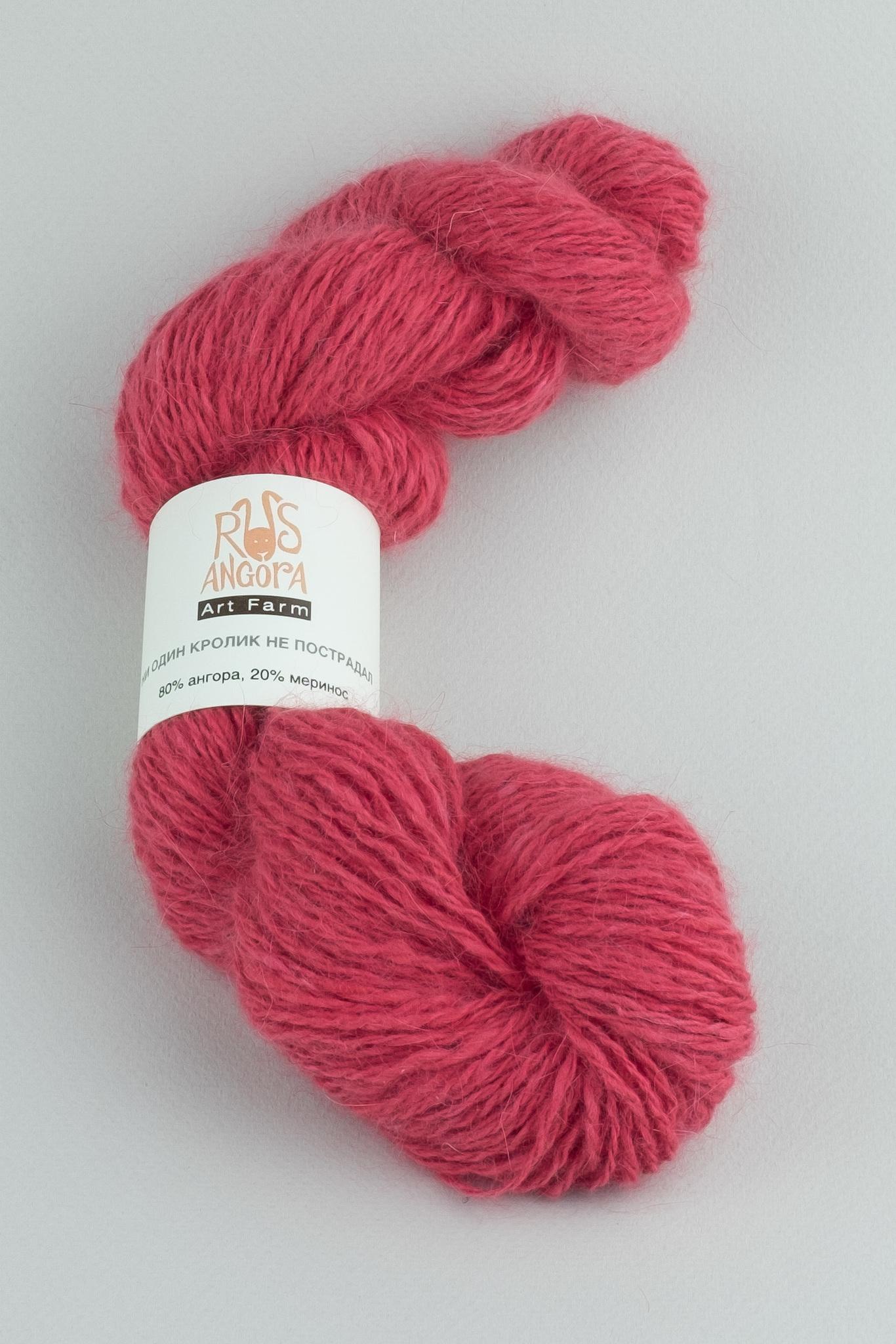 Пряжа из 100% ангоры ручной работы клубничный розовый