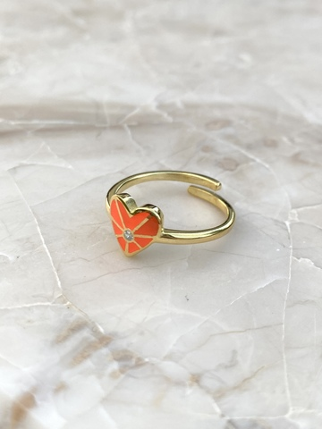 Кольцо из позолоченного серебра с оранжевым сердечком