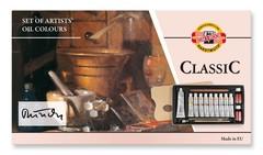 Набор красок масляных художественных CLASSIC, 10 цветов и принадлежности