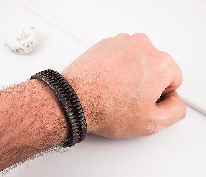 SL0039-BRN Оригинальный широкий мужской браслет из коричневой кожи, «Spikes»  (21 см) фото 09