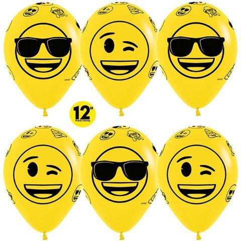 Шар (12''/30 см) Смайлы, Emoji (Крутые), Желтый (020), пастель, 5 ст.