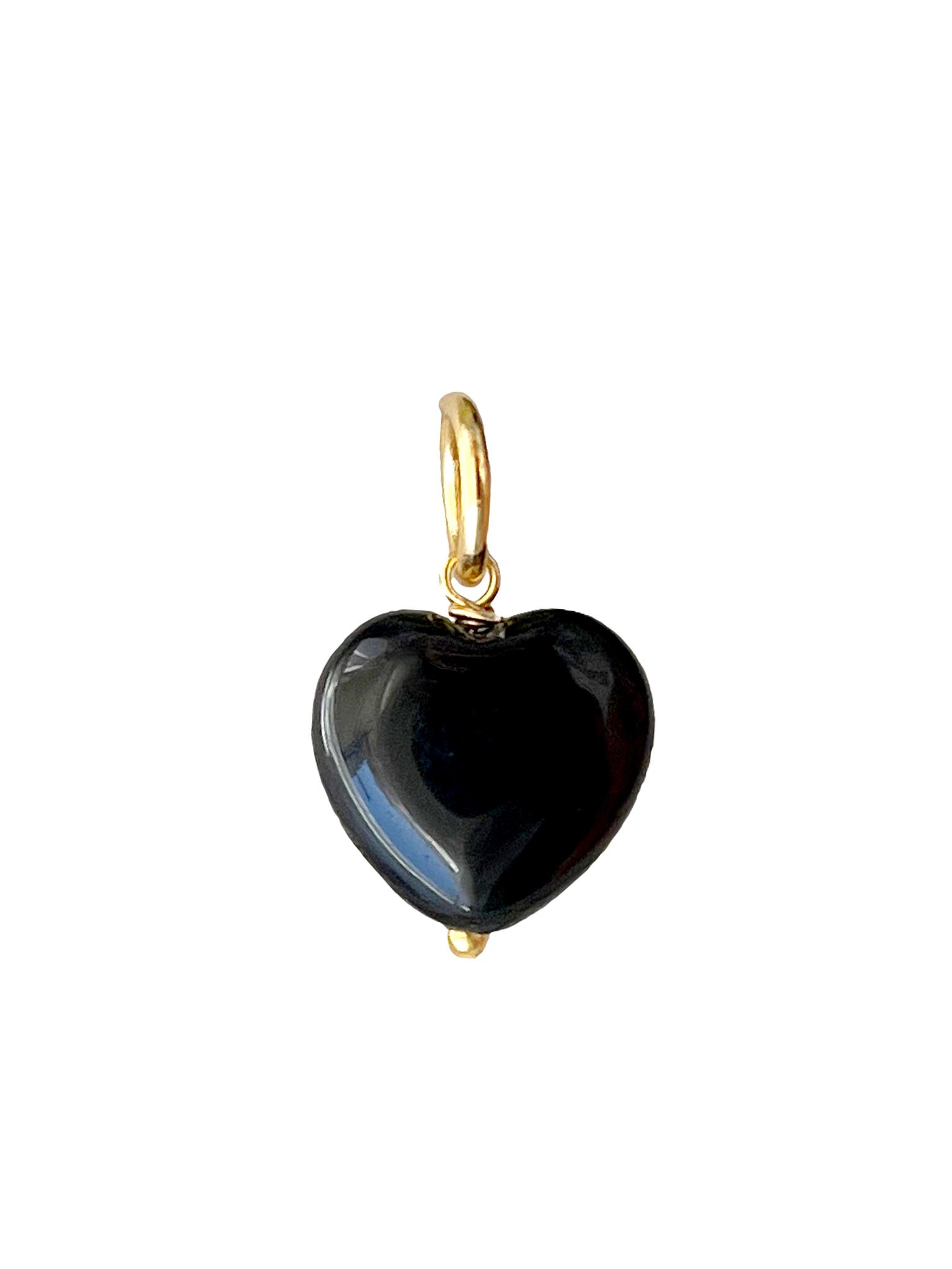 Подвеска Сердце из камня 12 мм / black agate /