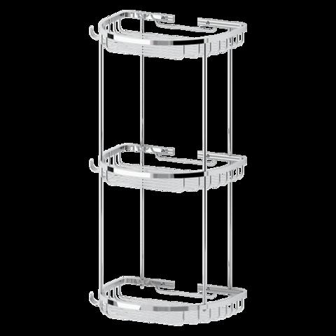 Полочка-решетка 3-х уровневая полукруглая 26х26х26 см RYNA   RYN012 FBS