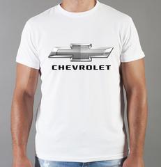 Футболка с принтом Шевроле (Chevrolet) белая 006