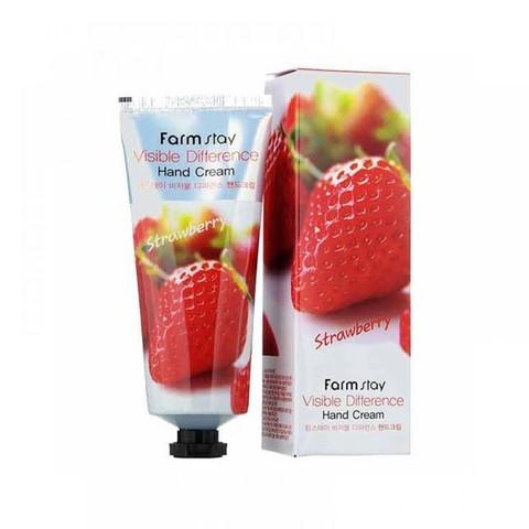 FarmStay Увлажняющий крем для рук с клубникой Visible Difference Hand Cream Strawberry 100 мл.