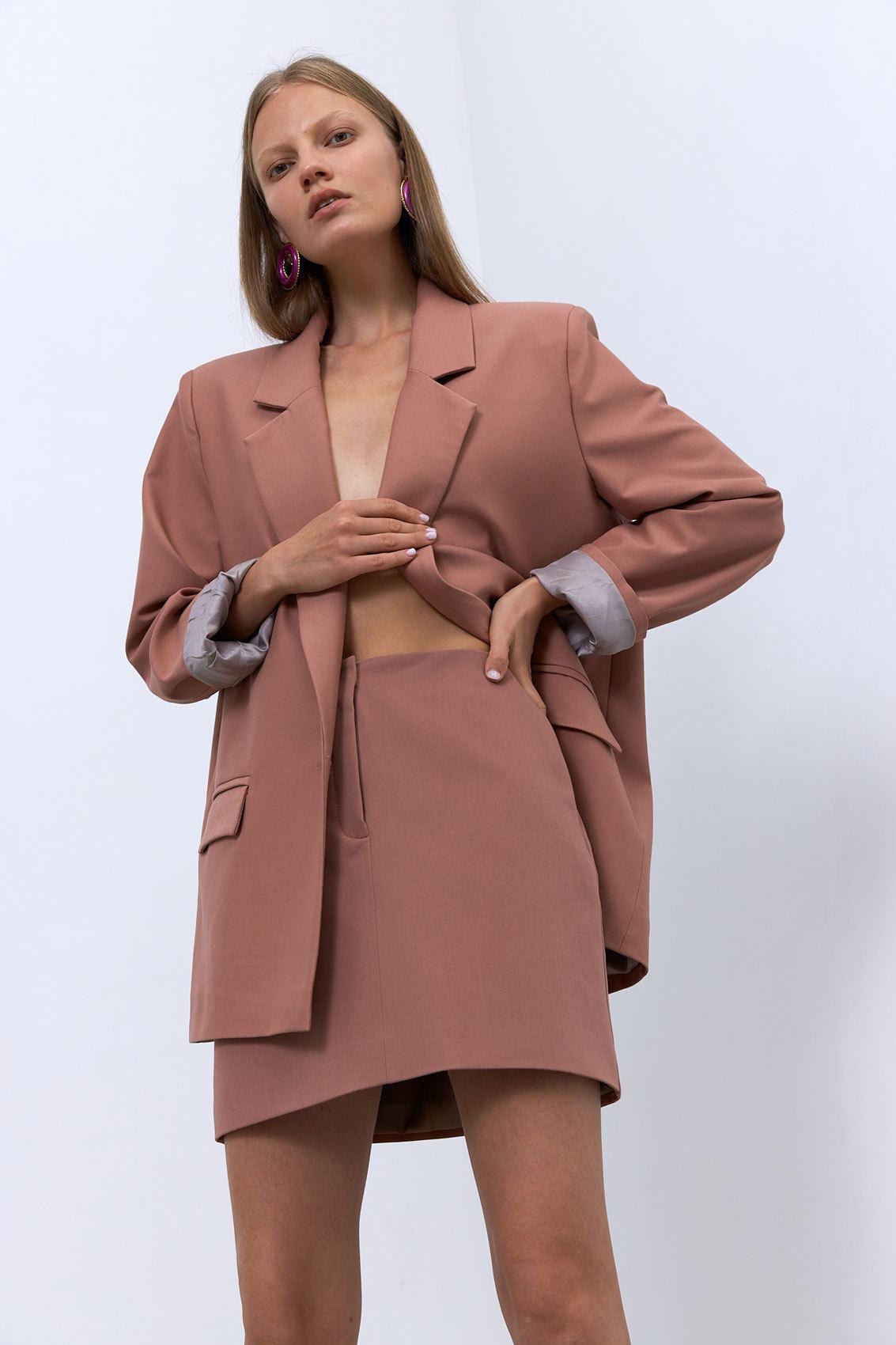 Юбка мини с гульфиком (костюмный твил), розовая пудра