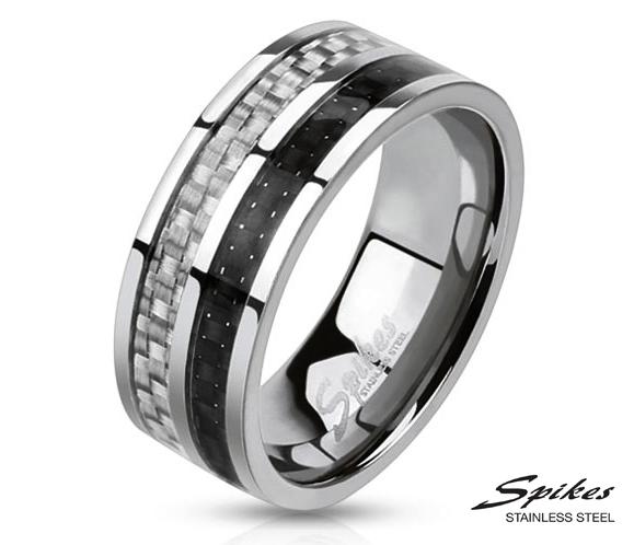 R-M0025-8 Мужское кольцо «Spikes» с карбоновой вставкой