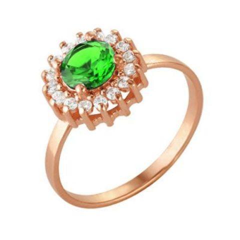 Серебряное кольцо с шпинелью и позолотой