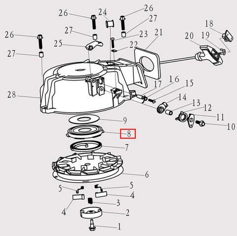 Корпус пружины стартера для лодочного мотора F9.8 Sea-PRO (8-8)
