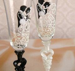 Набор свадебных бокалов «Влюблённые», с сердцем на ножке, 210 мл, фото 2