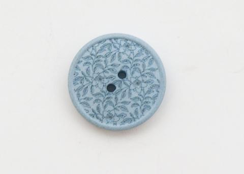 Пуговица с резными растениями, пластиковая, голубая, 20 мм