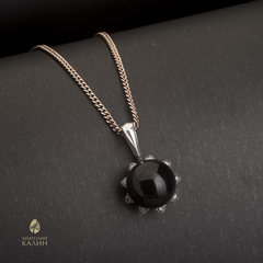 Кулон подвеска с черным нефритом и серебром Sola