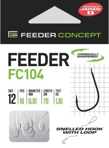 Крючки с поводком FC104 70 см, 0,12 мм, размер 10, упаковка 10 шт.