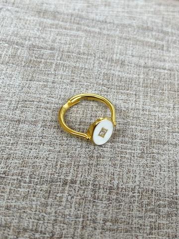 Кольцо Аврора белое, позолота