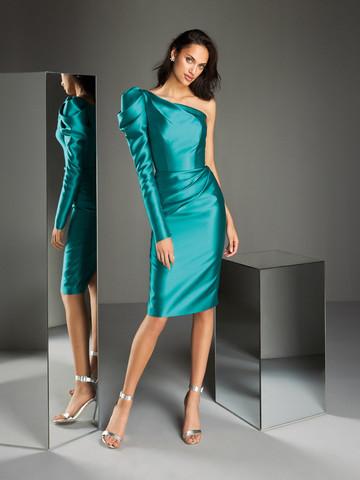 Вечернее платье коктейльное с асимметричным вырезом