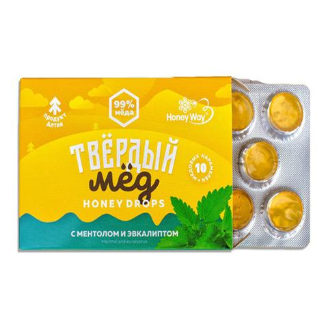 Карамель медовая со вкусом ментола и эвкалипта Твердый мёд, 30г