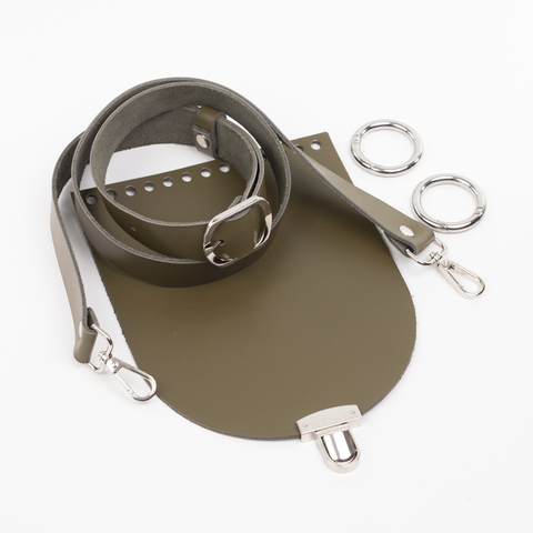 "Комплект для сумочки Орео ""Хаки"". Ручка через плечо и замок ""N12"""