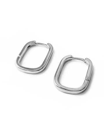 Серебряные серьги-прямоугольники