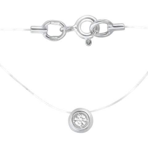 01Л621582 Колье с круглой подвеской из белого золота с бриллиантом на леске-невидимке