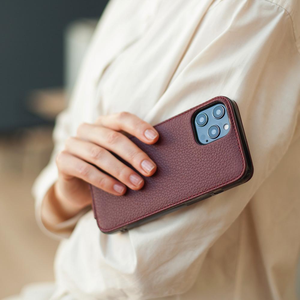 Чехол для iPhone 12 Pro Max из натуральной кожи теленка, бордового цвета