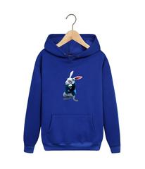 Толстовка синяя с капюшоном (худи, кенгуру) и принтом Алиса в стране чудес, Белый Кролик (Alice's Adventures in Wonderland) 001