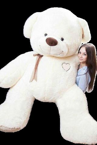 Игрушка Плюшевый медведь Феликс I Love You (230 см). Молочный
